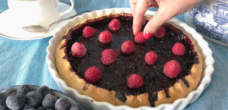 receta tarta de frutos rojos con chocolate
