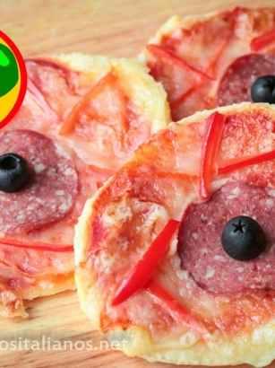 Mini Pizzas de Halloween para Niños en forma de Ojos Sangrientos - Receta