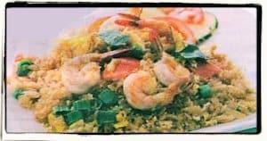 Arroz con mariscos y espinacas