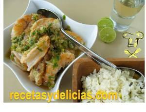 receta de camarones al tequila con arroz