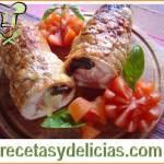 Receta de arrollados rellenos de queso crema, tocino y zanahoria
