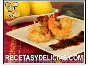 camarones gabardina en salsa de moritas