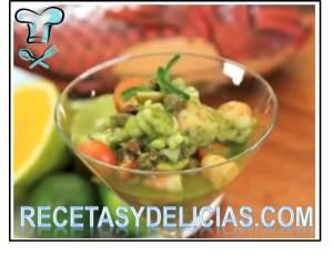 ceviche de mariscos en mojito verde