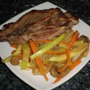 5ad173385dca8b34a79599de41eef68b - ▷ Aguja con tiras de verdura a  la pimienta 🐖 🥕 🥒