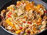 Riz de Camargue sauté aux légumes et au poulet