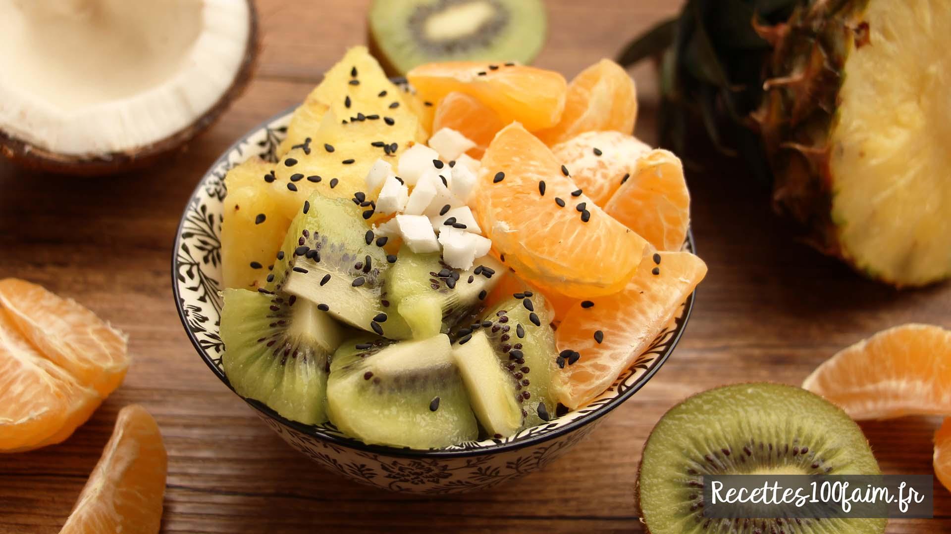 salade fruits coco ananas kiwi clementine