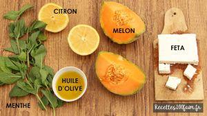 ingredients salade melon feta menthe