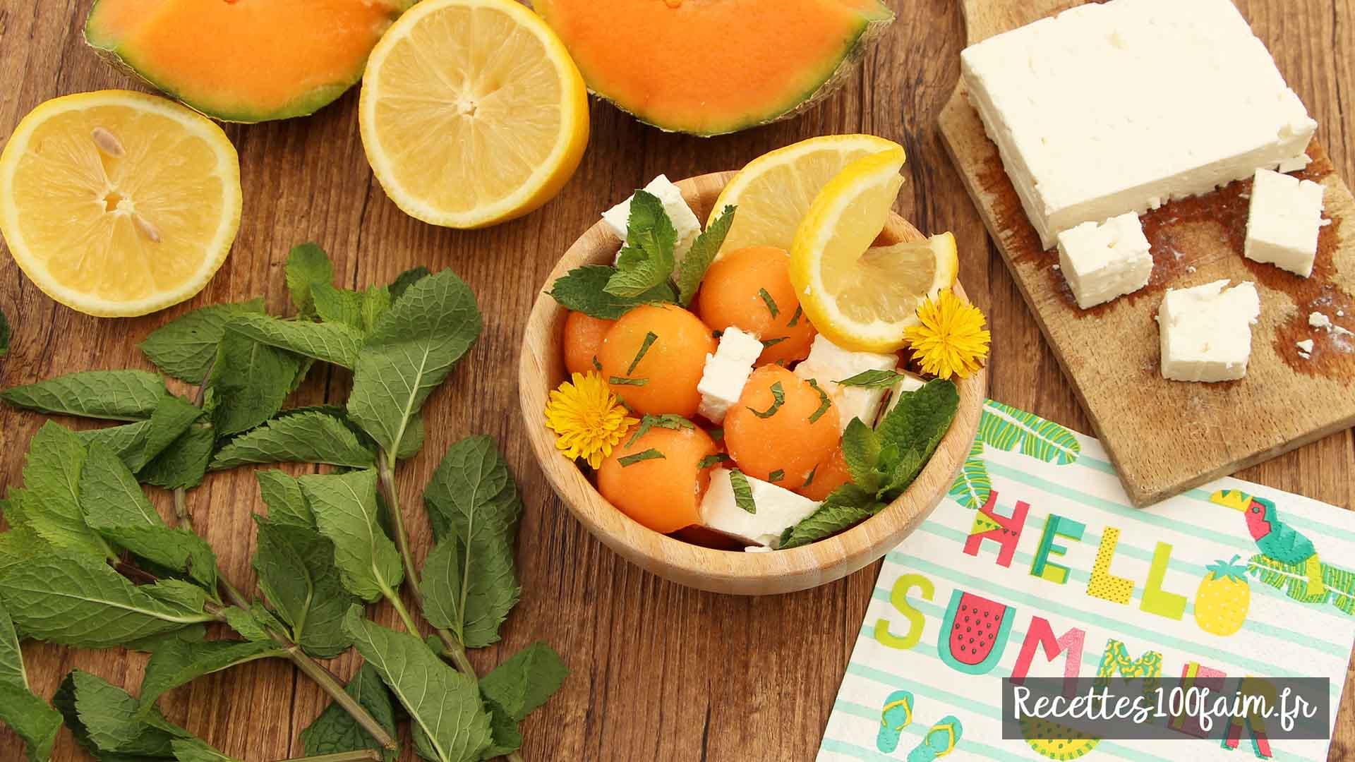 recette salade melon menthe feta