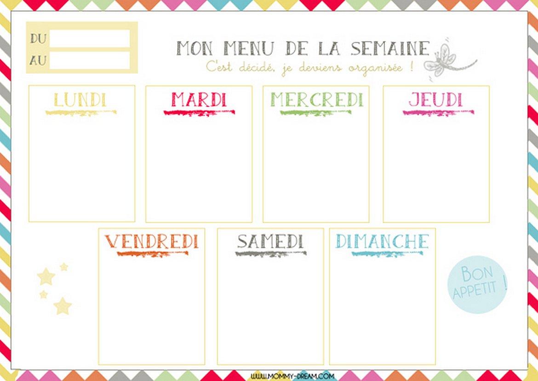 Planning Vierge Menu De La Semaine Recettes Cookeo