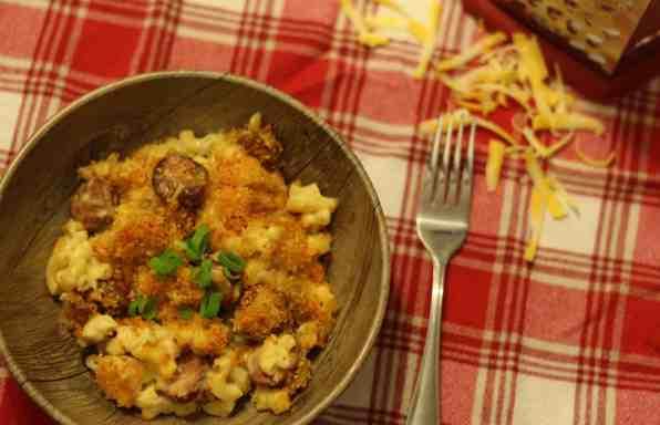 Macaronis au fromage et chorizo