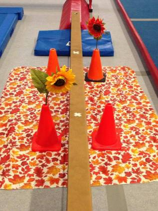 Fine motor skill development! When you get to the flower, squat to pick out of one pylon and replant it in the pylon on the other side. Harder than it looks for those little ones!