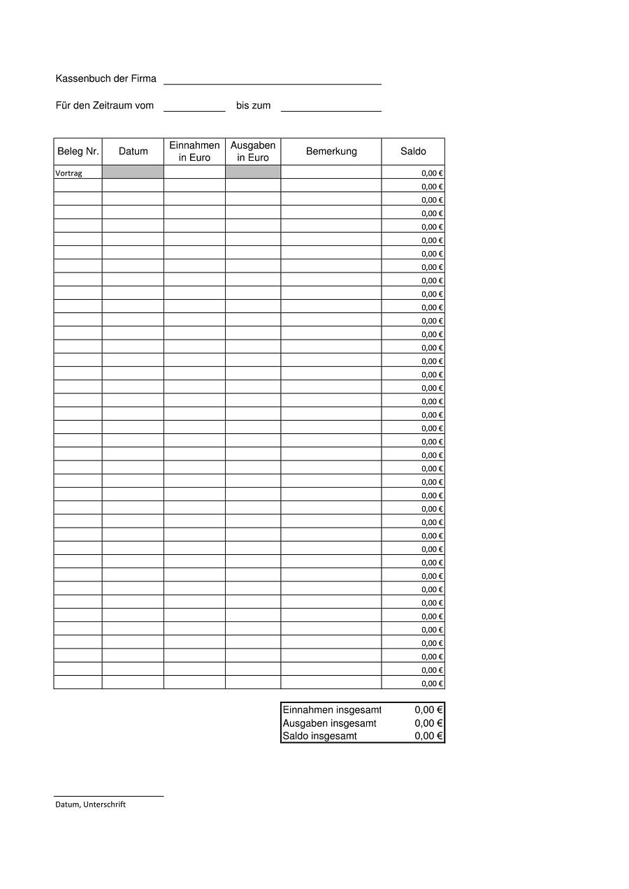 Rechnungseingangsbuch Excel Vorlage Kostenlos : rechnungseingangsbuch, excel, vorlage, kostenlos, Excel, Kassenbuch, Vorlage, Kostenlos, Herunterladen