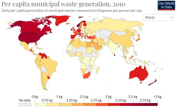 mapa da geração de lixo no mundo