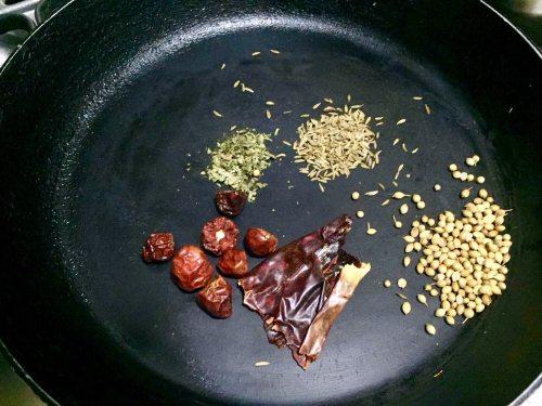 Roast spices for karahi masala.