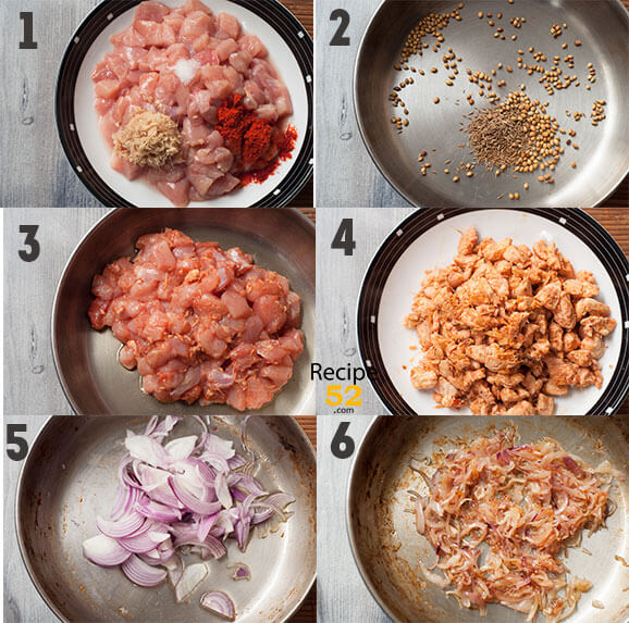 Steps to make curry.