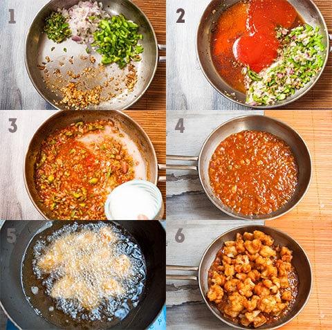 Steps for making manchurian gravy.