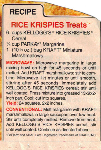 rice krispies treats recipe clippings
