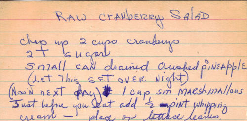 Handwritten Recipe Card For Raw Cranberry Salad
