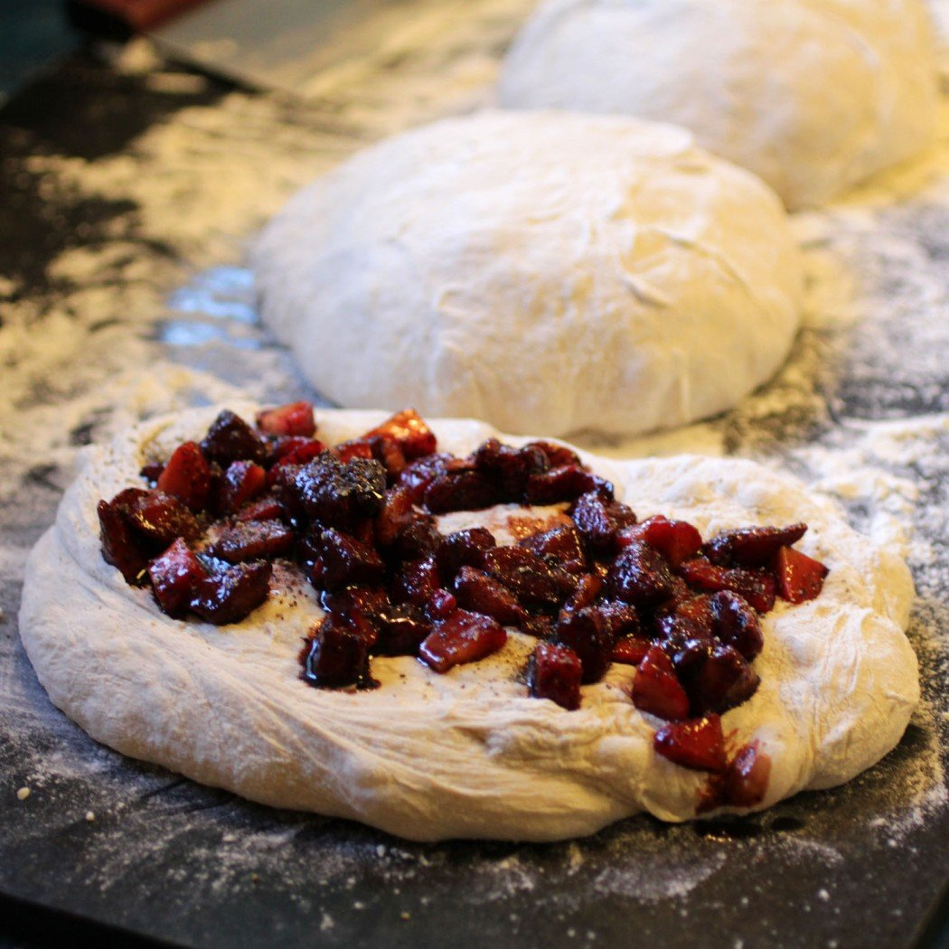 balsamic roasted strawberry ciabatta ready to shape