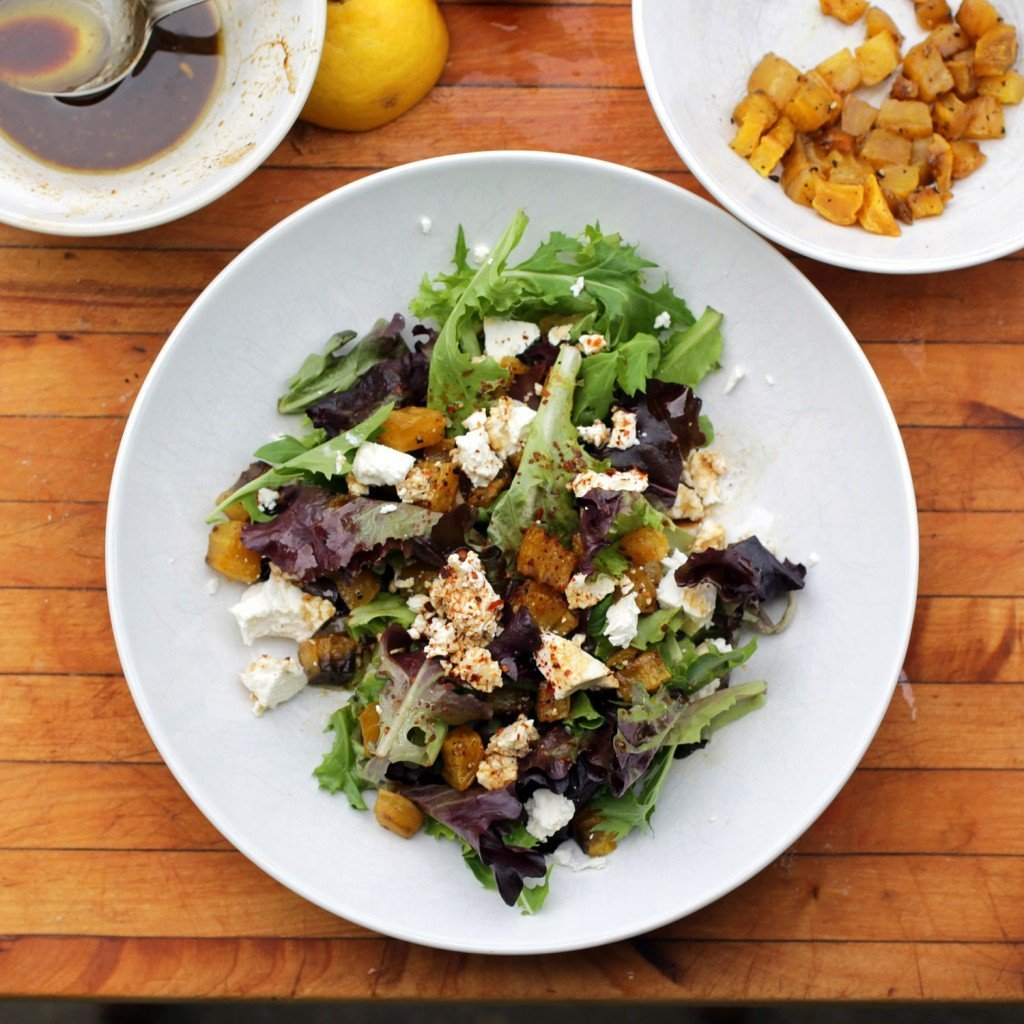 golden beet salad feta and lemon pom dressing