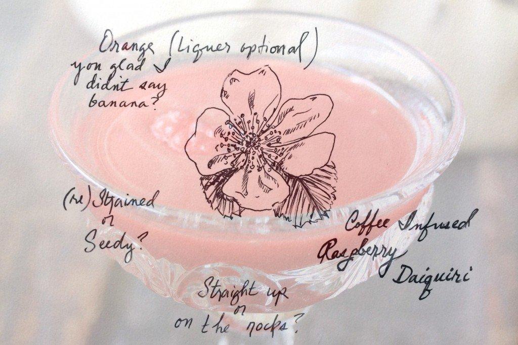 coffee infused raspberry daiquiri illustration