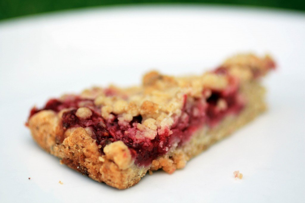 fresh raspberry crumb cake close up