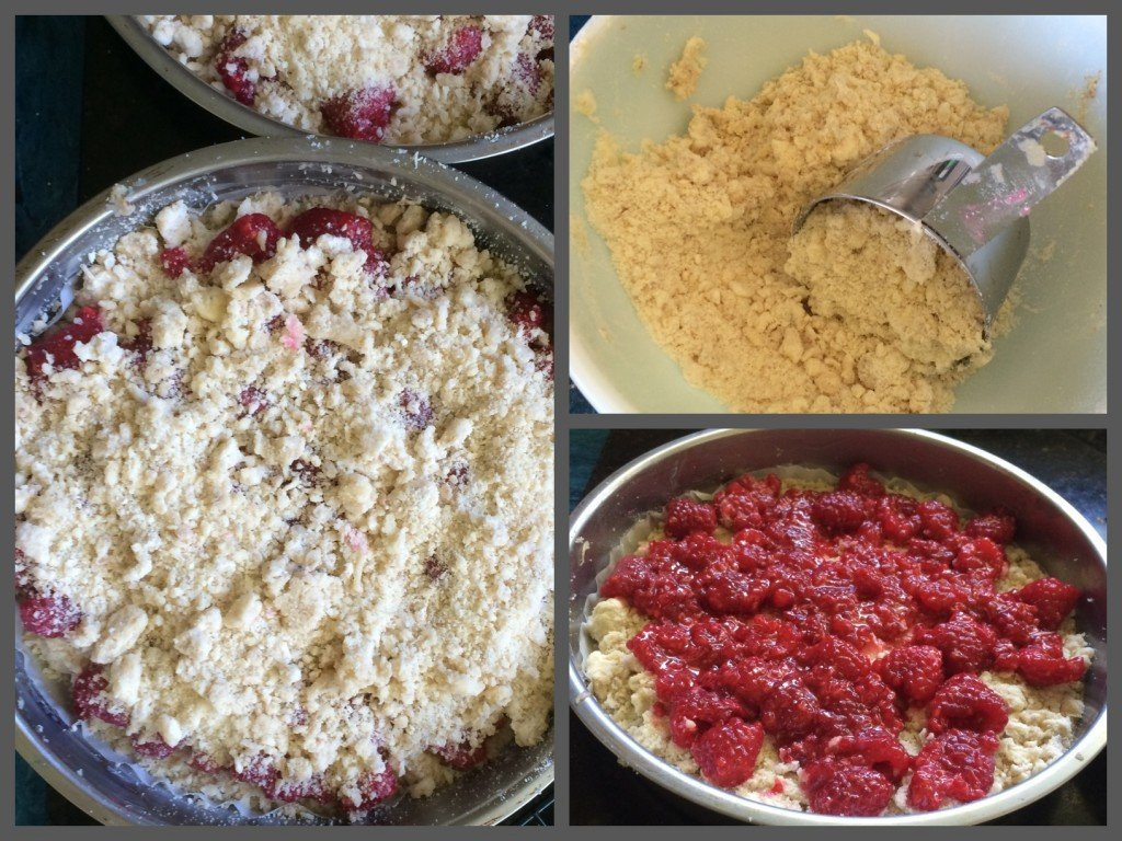 fresh raspberry crumb cake baking steps