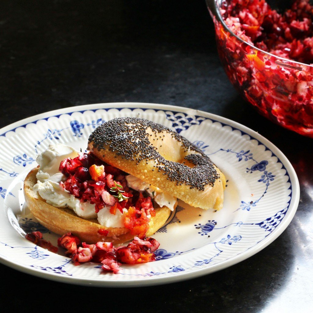 cranberry relish and cream cheese bagel