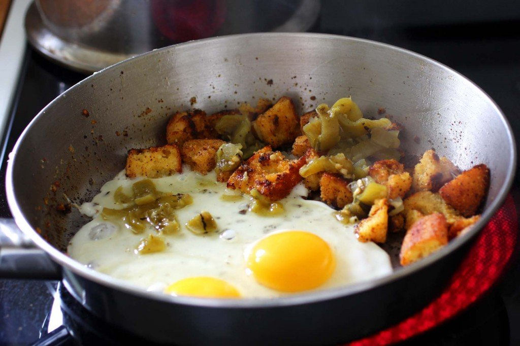 ried cornbread and eggs with green chile