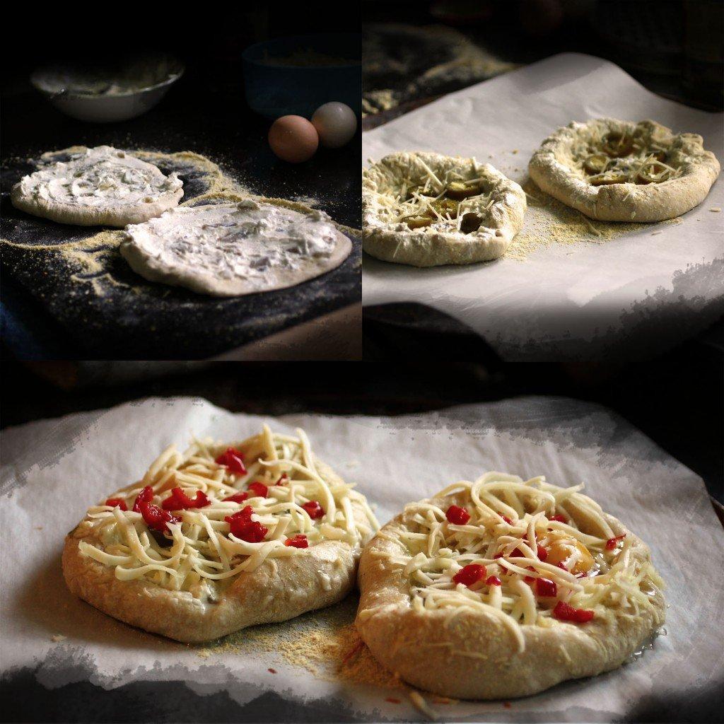 jalapeño popper breakfast pizza steps one through three