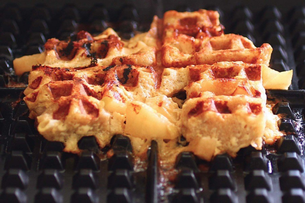 spiced apple french toast waffle on waffle iron