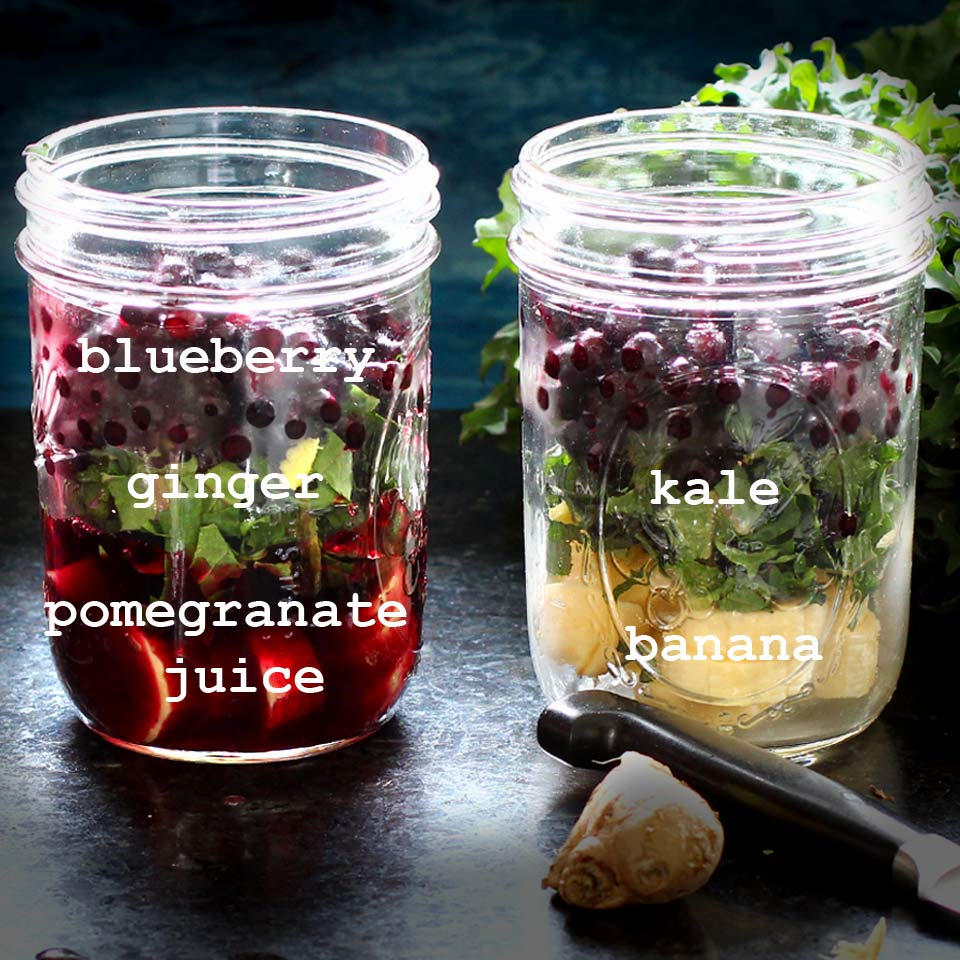 Make ahead morning smoothies with blueberry, banana, ginger, pomegranate, and kale