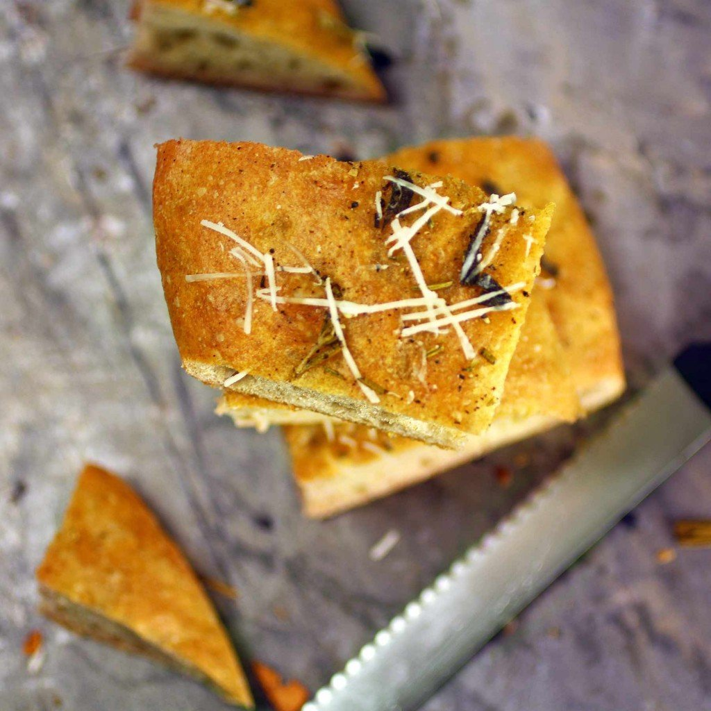 rosemary sage focaccia with garlic and parmesan