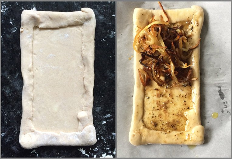 Assembling the Pissaladière: Caramelized Onion Olive Tart with Anchovy