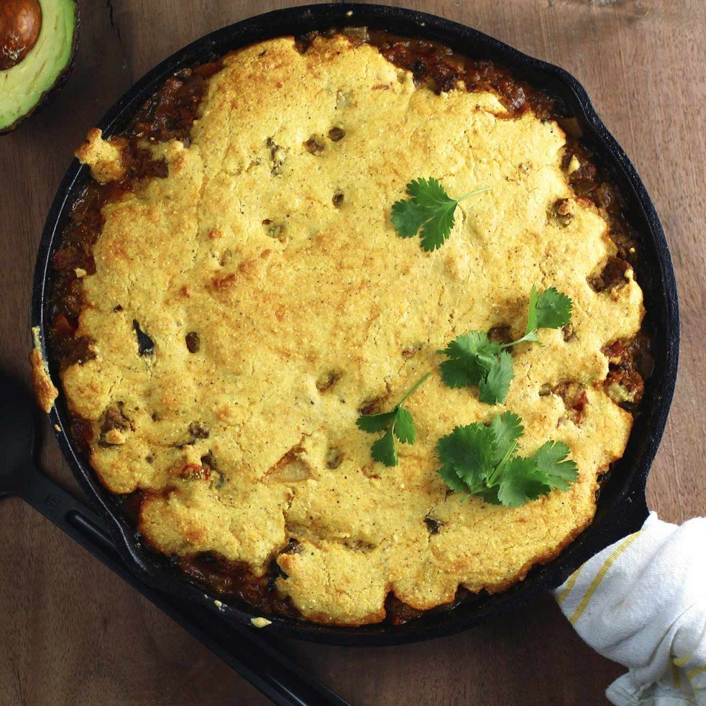 Cornbread Tamale Pie with green chili and cheese