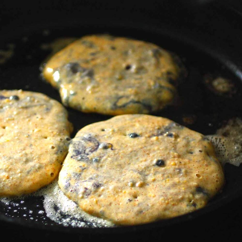 cornmeal blueberry pancakes cooking