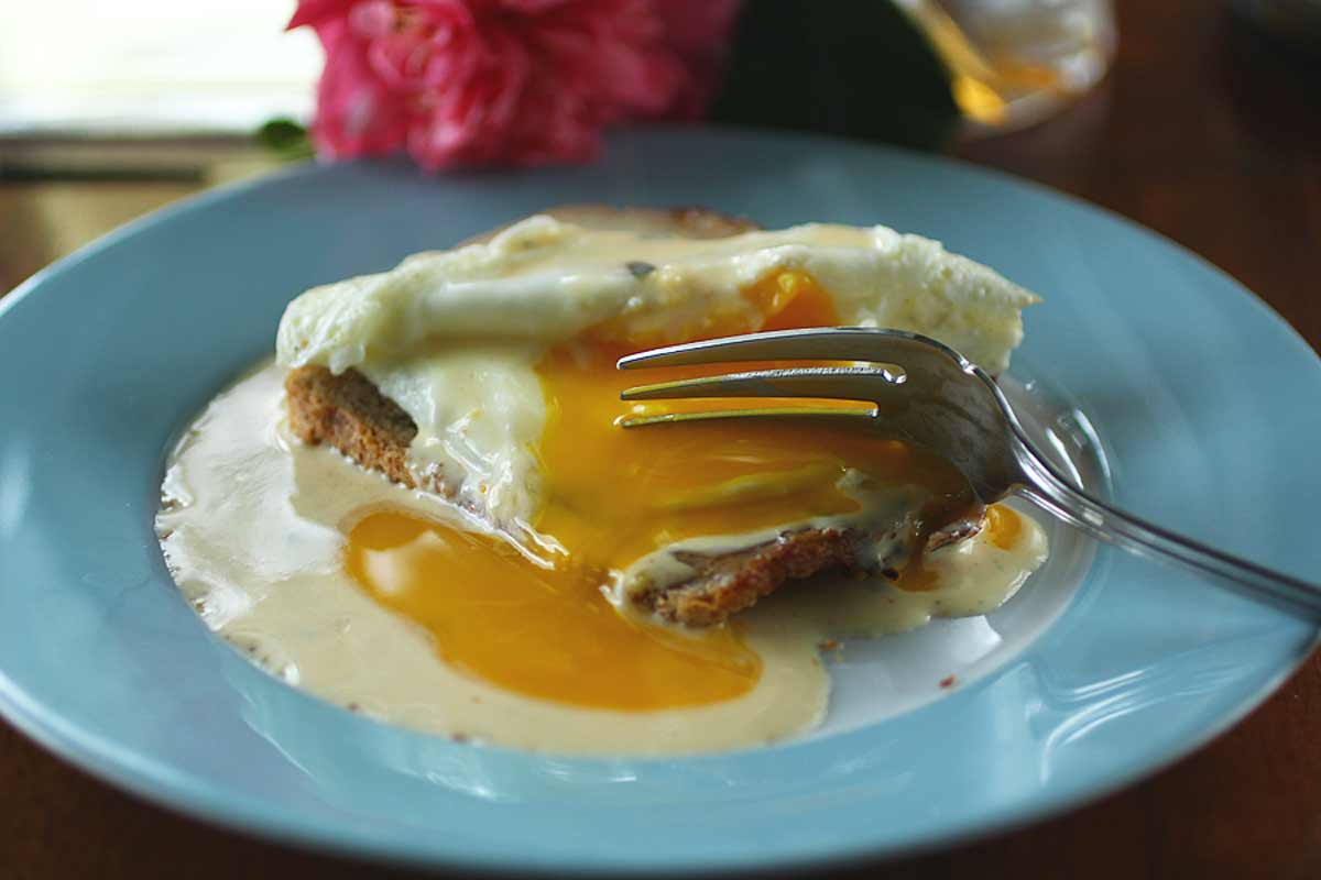 orange rosemary hollandaise on rye
