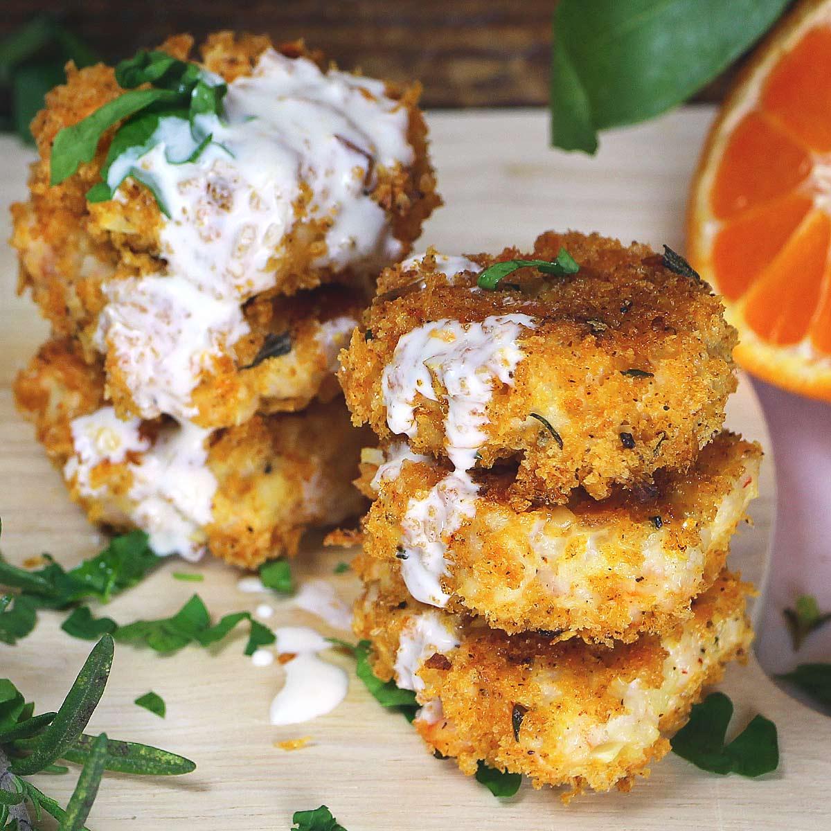 panko crusted oregon shrimp cakes with two citrus aioli