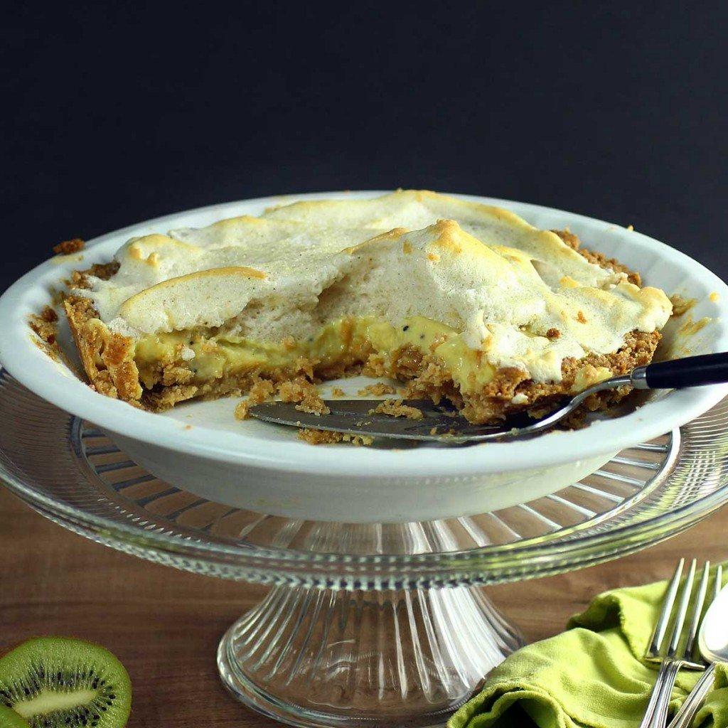 kiwi key lime pie with meringue topping