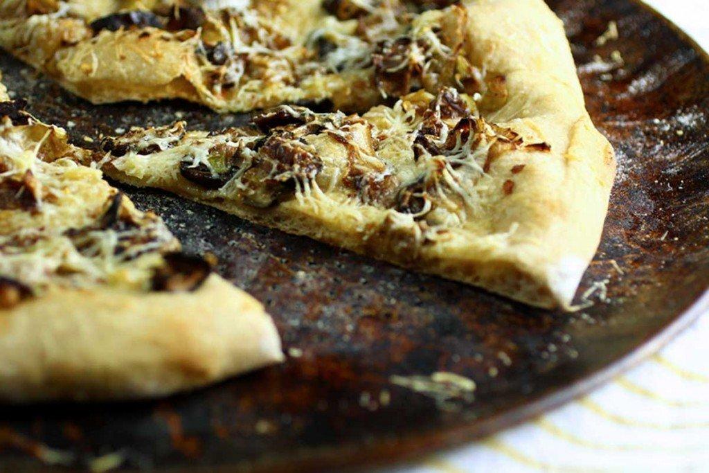 Mushroom Leek Pizza