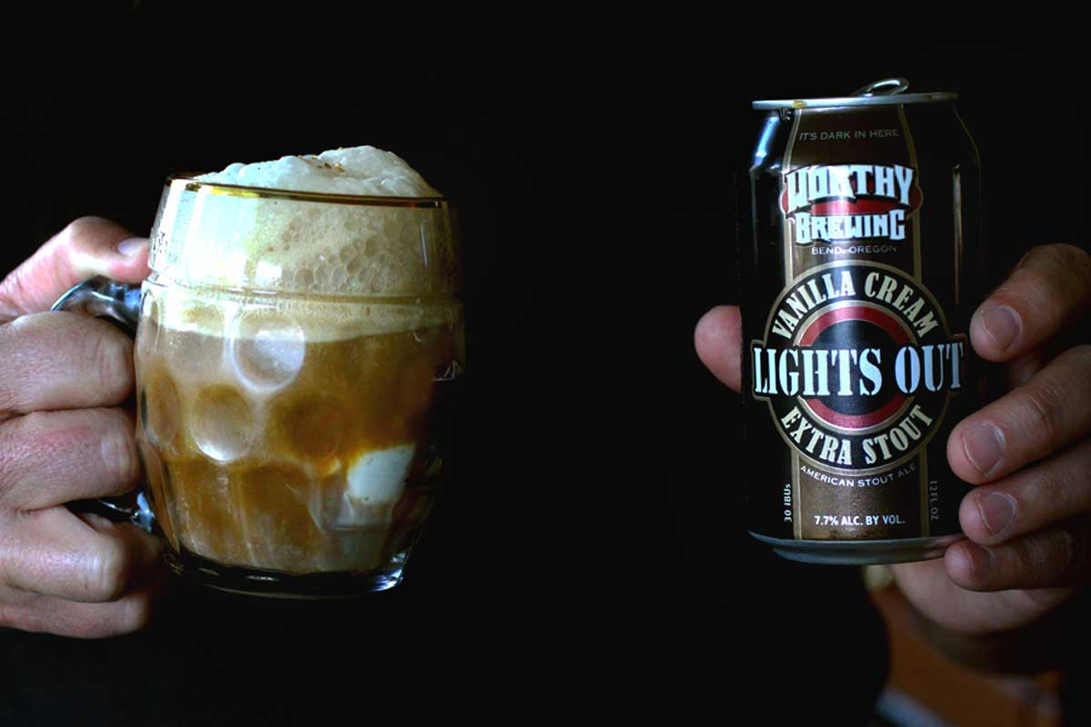 Worthy LIghts OUt Vanilla Cream Stout Ice Cream Float with bourbon caramel sauce