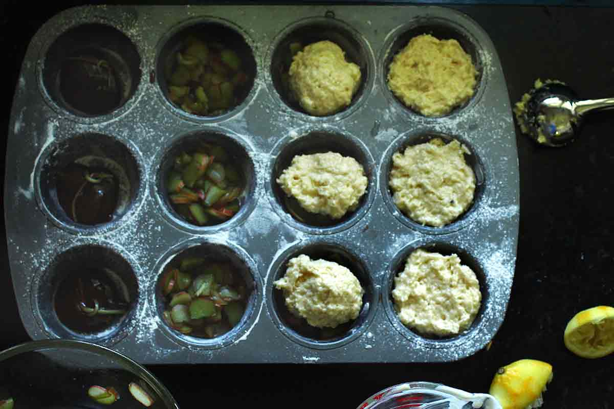 Individual Rhubarb Upside Down Cakes or Muffins being assembled