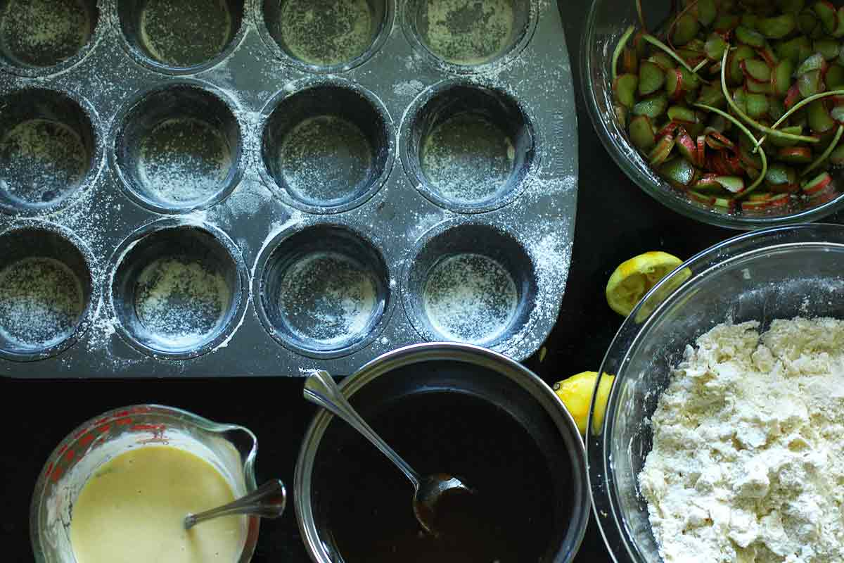 Individual Rhubarb Upside Down Cakes or Muffins Ingredients