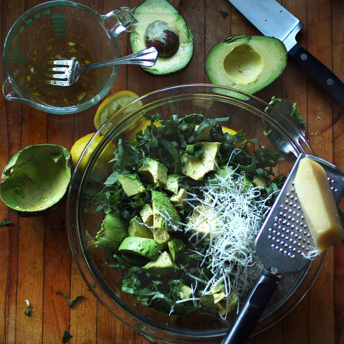 Avocado Kale Salad with parmesan