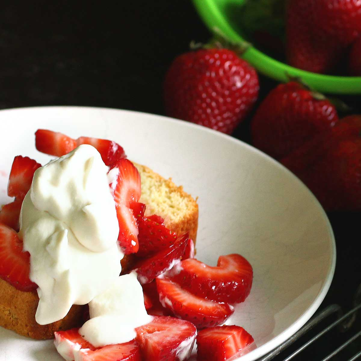 almost an angel: no oil easy chiffon sponge cake with fresh strawberries and rose whipped cream