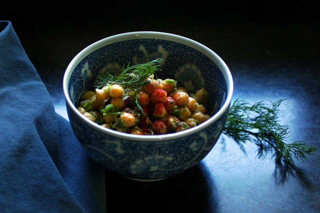 Vegan Chickpea Salad with roasted onion and dill cream