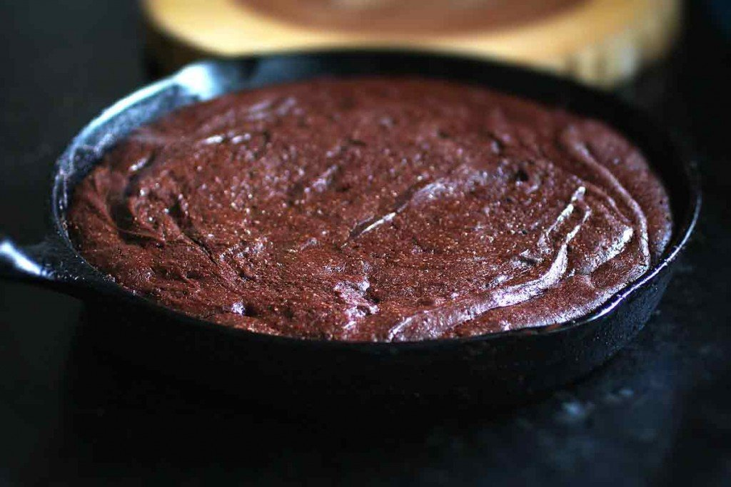 brown butter flourless chocolate cake baked in cast iron