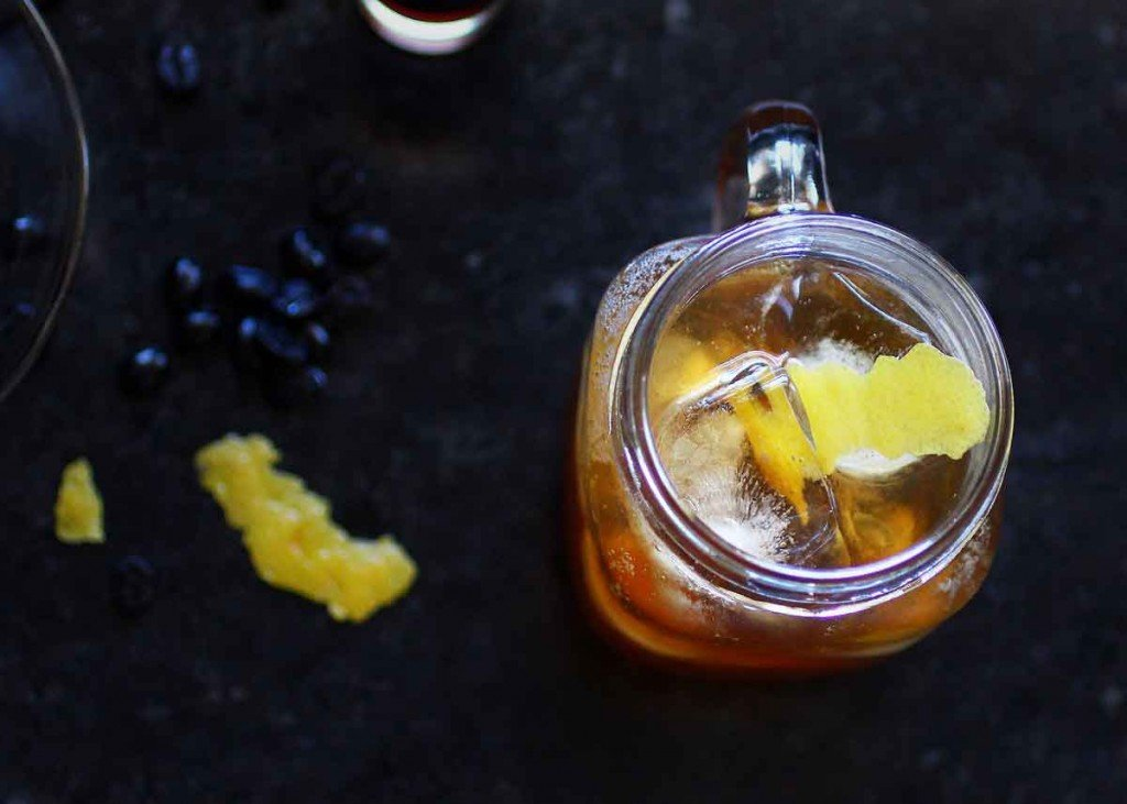 coffee vanilla infused vodka spritzer