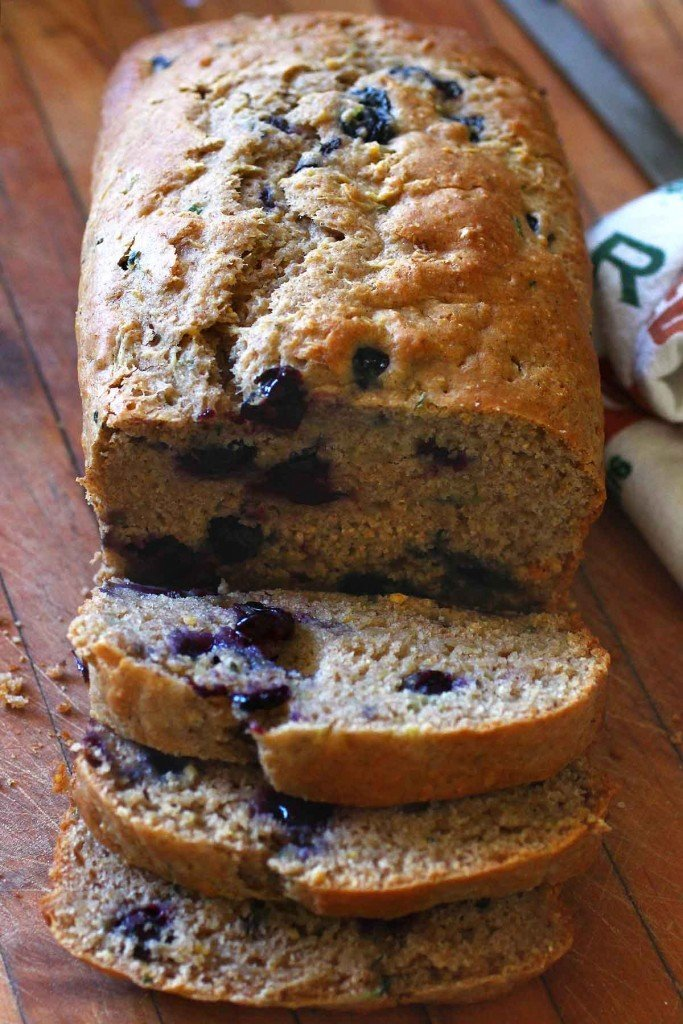 Zucchini Bread baked with fresh blueberries