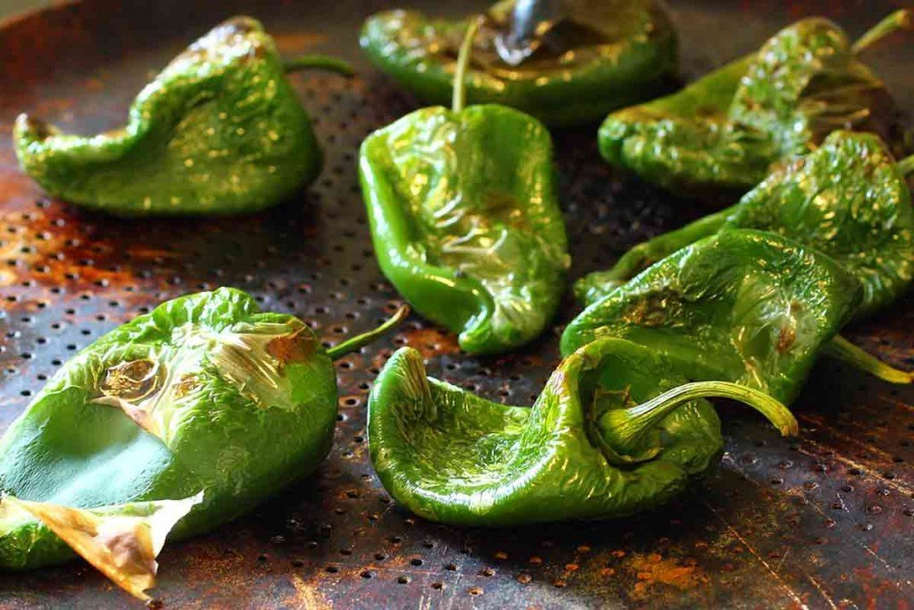 Broiled poblano peppers for Relleno Soufflés with poblano peppers and cheese